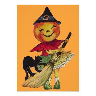 Cute Halloween Pumpkin Girl 5x7 Paper Invitation Card