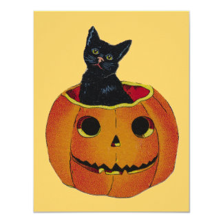 Cute Halloween Pumpkin 4.25x5.5 Paper Invitation Card