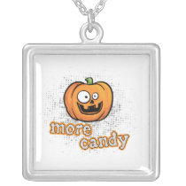 Cute Halloween Pumpkin More Candy square Silver Plated Necklace