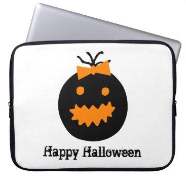 Cute Halloween pumpkin with bow Computer Sleeve