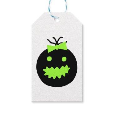 Halloween Themed Cute Halloween pumpkin with bow Gift Tags