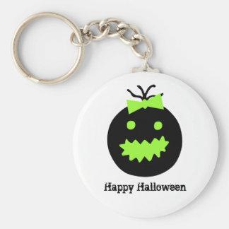 Cute Halloween pumpkin with bow Keychain