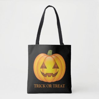 Cute Halloween Pumpkin With Trick Or Treat Text Tote Bag
