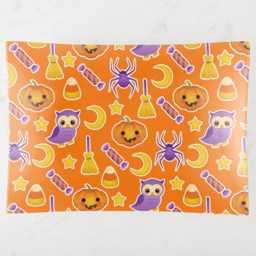 Halloween Themed Cute Halloween Pumpkins Owls Spiders Pattern Trinket Trays