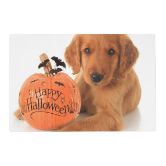 Cute Halloween Puppy With A Pumpkin Placemat