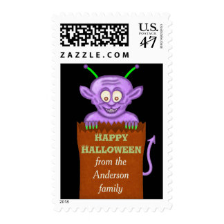 Cute Halloween Purple Goblin Cartoon Personalized Postage