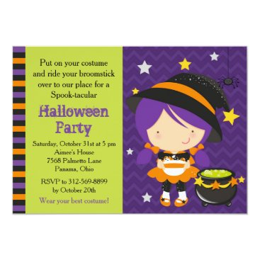 Halloween Themed Cute Halloween Purple Haired Witch Party Card