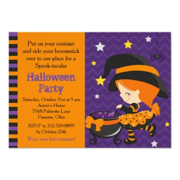 Halloween Themed Cute Halloween Red Hair Witch Party Card