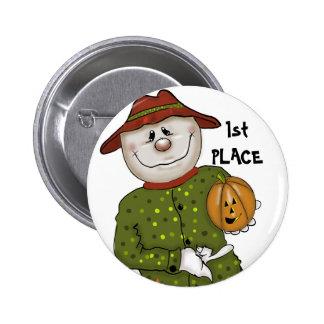 Cute Halloween Scarecrow Contest Prize Favor Button