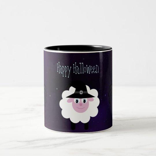 Cute Halloween Sheep & Spiders Magical Night Two-Tone Coffee Mug