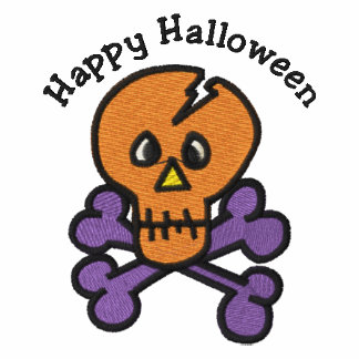 Cute Halloween Skull and Crossbones Embroidered