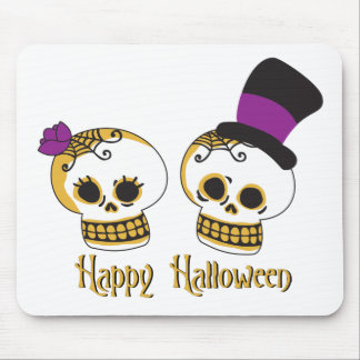 Cute Halloween Skull Couple Mousepads