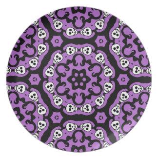 Cute Halloween skull kaleidoscope damask decor Plate