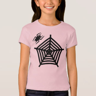 Cute Halloween Spider and Web Girls T-Shirt