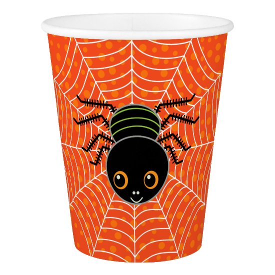 Cute Halloween Spider on Web Orange Paper Cup