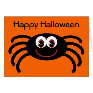 Cute Halloween Spider Orange Greeting Card