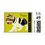 Cute Halloween Stamp: Dog in Mummy Costume