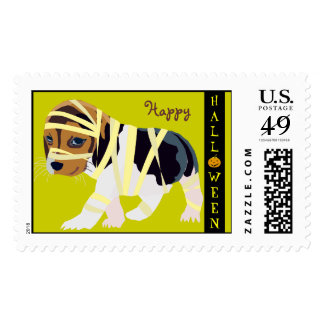 Cute Halloween Stamp: Dog in Mummy Costume Postage Stamps