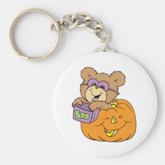 cute halloween teddy bear in pumpkin boo key chain