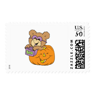 cute halloween teddy bear in pumpkin boo postage