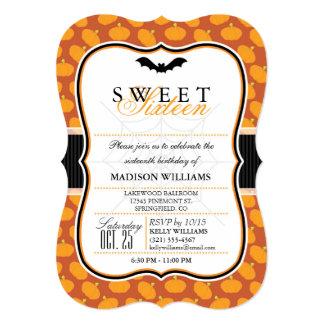 Cute Halloween Theme Sweet 16 Party Invitation