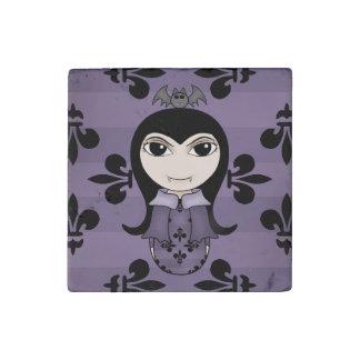 Cute Halloween vampire girl black and purple Stone Magnet