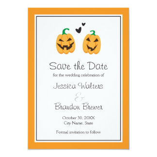Cute Halloween wedding save the date announcement
