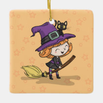Cute Halloween Witch and Cat | Ornament