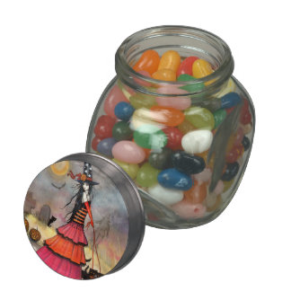 Cute Halloween Witch and Cats Candy Jar Jelly Belly Candy Jar