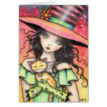 Cute Halloween Witch and Orange Tabby Cards