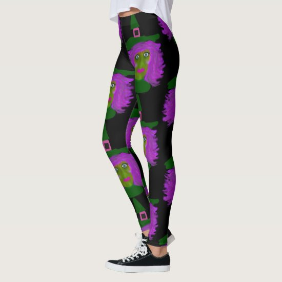 Cute Halloween Witch Black Leggings