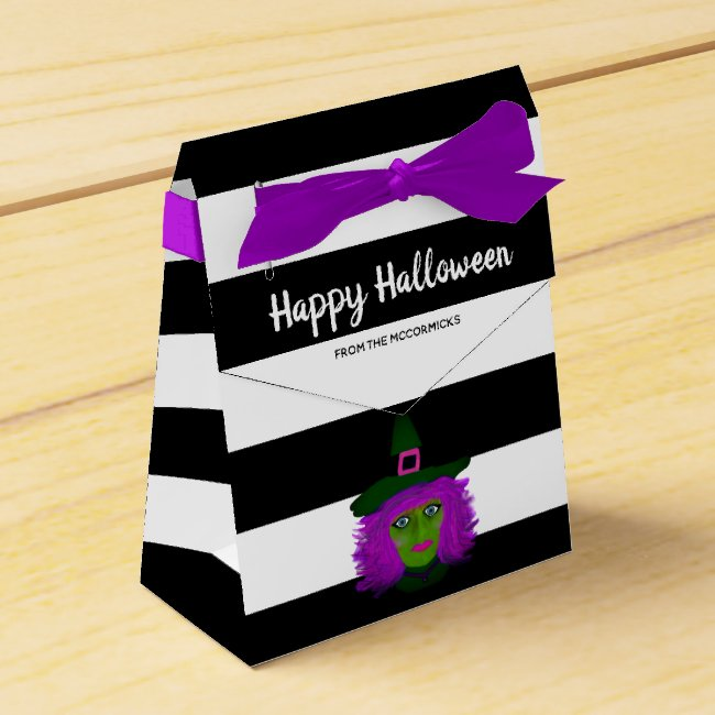 Cute Halloween Witch Black Striped Party Name Favor Box