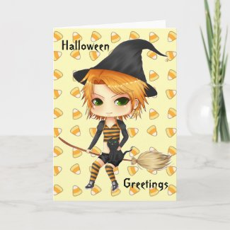 Cute Halloween witch chibi card for your text card