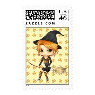 Cute Halloween witch chibi girl postage stamps stamp
