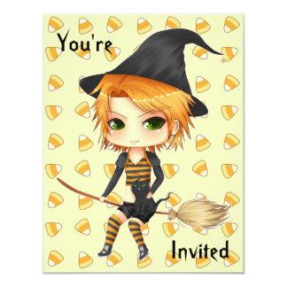 Cute Halloween witch chibi invitations