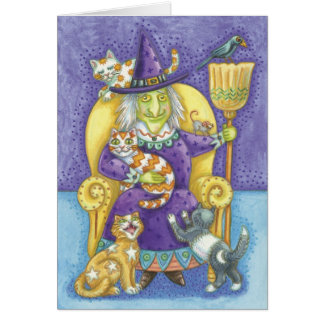 Cute Halloween Witch, Crazy Cat Lady Card