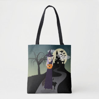 Cute Halloween Witch, Happy Pumpkin and Black Cat Tote Bag