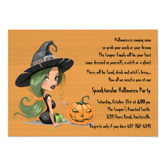 Cute Halloween Witch Invitation
