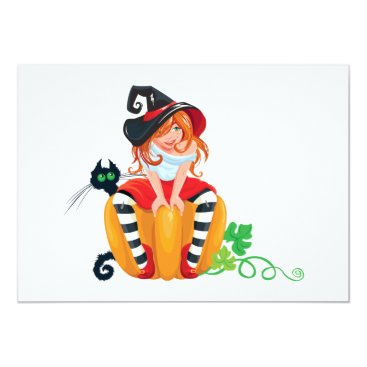 Halloween Themed Cute Halloween Witch Invitations