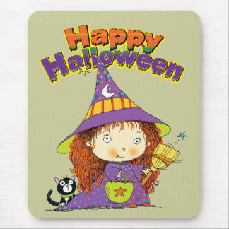 Cute Halloween Witch Mouse Pad