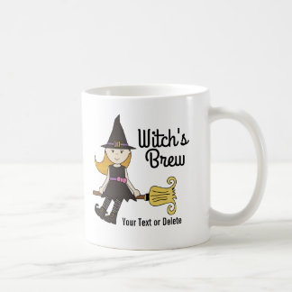 Cute Halloween Witch on Broom Stick Personalized Coffee Mug