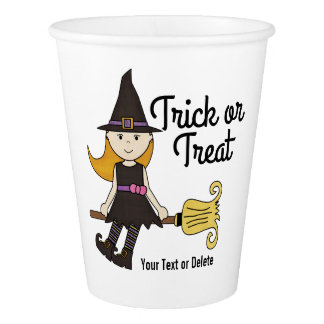 Cute Halloween Witch on Broom Stick Personalized Paper Cup
