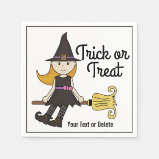 Cute Halloween Witch on Broom Stick Personalized Paper Napkin