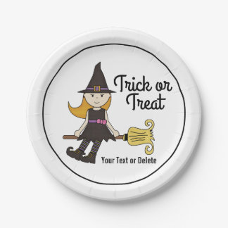 Cute Halloween Witch on Broom Stick Personalized Paper Plate
