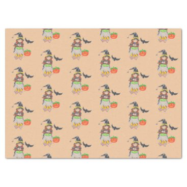 Halloween Themed Cute Halloween witch peach tissue paper