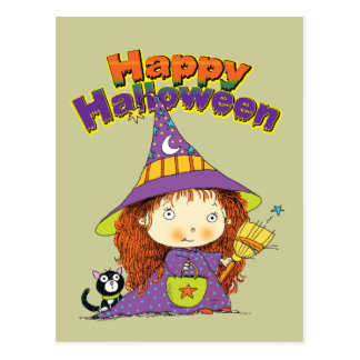 Cute Halloween Witch Postcard