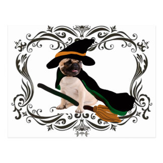 Cute  Halloween Witch Pug Post Cards