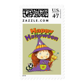 Cute Halloween Witch Stamp