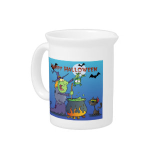 Cute Halloween Witch Tees and Gifts Beverage Pitcher