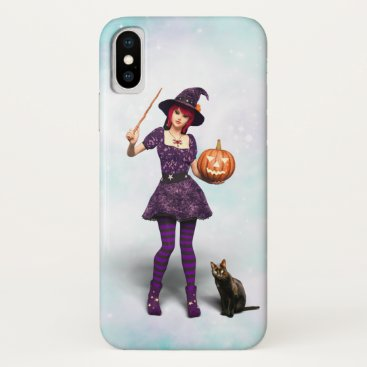 Cute Halloween Witch with Black Cat and Pumpkin iPhone X Case